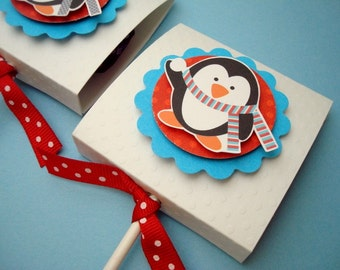 Winter Penguin Lollipop Favors, Set of Ten