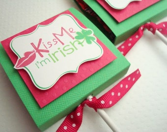 St Patrick's Day Lollipop Favors, Kiss Me I'm Irish, Set of Ten