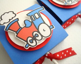 Birthday Train Lollipop Favors, Blue and Red, Set of Ten
