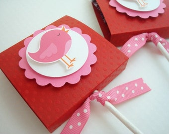 Red and Pink Birdie Lollipop Party Favors, Set of Ten