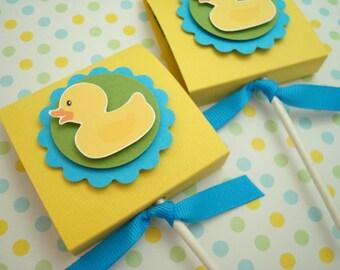 Rubber Ducky Lollipop Favors, Yellow and Blue, Set of Ten