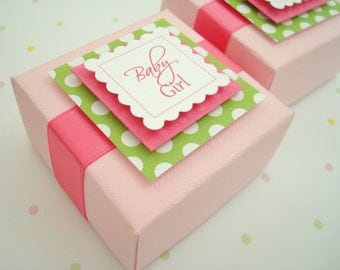 Pink and Green Baby Girl Favor Boxes, Set of Ten