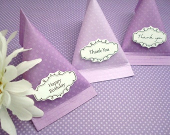 Candy Pouch Party Favors, Purple Polka Dots, Set of Ten