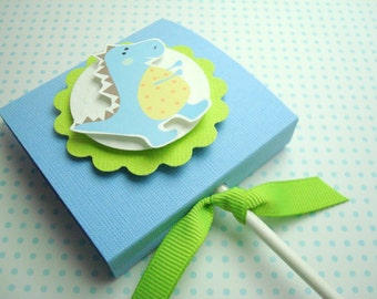 Baby Blue Dinosaur Lollipop Favors, Set of Ten
