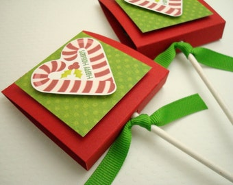Candy Cane Heart Lollipop Favors, Happy Holidays, Set of Ten