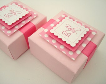 Personalized Pink Polka Dot Favor Boxes, All Occasion, Set of Ten