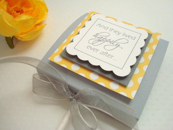 Gray and Yellow Personalized Wedding Lollipop Party Favors, Set of Ten