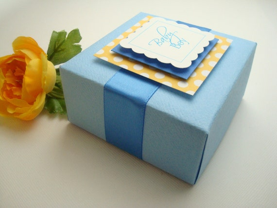 Personalized Favor Boxes, Blue and Yellow, Set of Ten