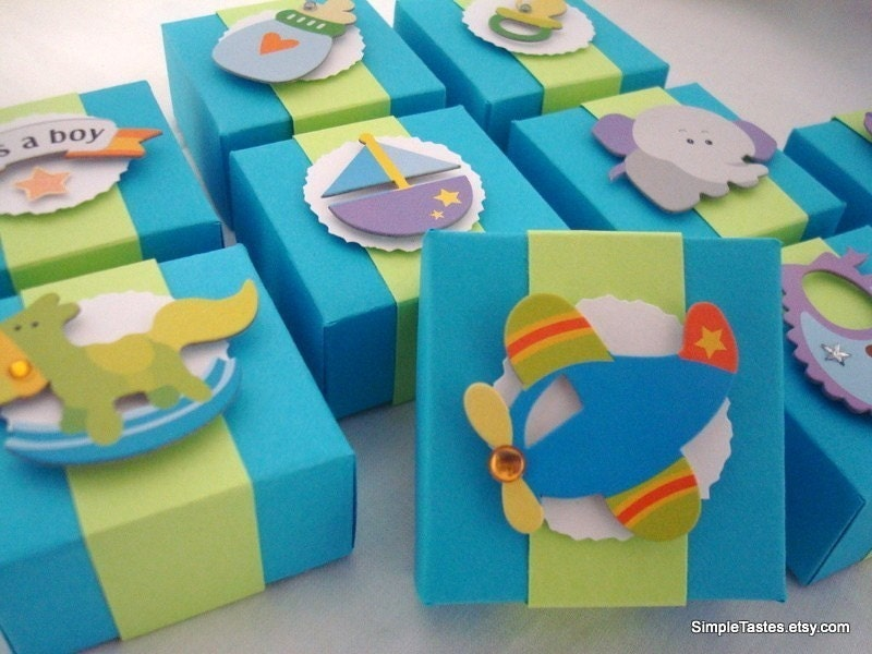 Favour Boxes Baby Blue : Bright blue baby boy favor boxes reserve for janette