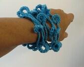 Blue  Sea-Cotton--Fiber jewelry--.-.Necklace /  Bracelet--jewelry-unisex Adults.gift