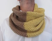 Handknitted scarf for men  women------- Cotton--Light  brown and  Mustard-- under 50 USD