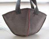 Kimono Bag--- InsideOut Canvas and Pink Felt. Hand Bag-limited eddition-handmade-stylish-woman--shopping bag