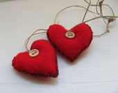 Red Lev -------- Felt. Heart------Holiday gift---Valentine's Day