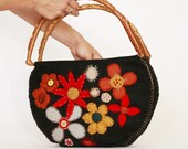 HandBag---Flower Felt -------- 100 percent Felt. .--- black felt handbag---flower embroider--vintage  handles