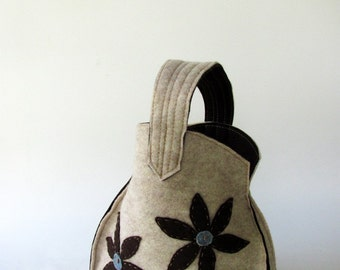 Sweet  Hand Bag--Brown    Flower  - Light blue Point--Felt flower-High Fashion-Gift for women