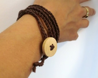 Textile jewelry--Chocolate brown--100percent Cotton--- Bracelet-Necklace.unisex-jewelry-gift-handmade