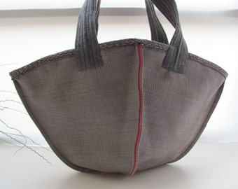 Kimono Bag--- InsideOut Canvas and Pink Felt. Hand Bag-limited eddition-handmade-stylish-woman--shopping bag