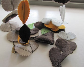 3 Felt Garland--------------Yellow--Green--Brown--Gray---Valentine's Day
