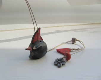 BlacK BirD -----------ceramic Marionette-----BirD on string--Chrsitmas gift---Gift under 50 USD