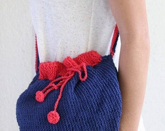 HipBag- DoubleStrap ---Cotton.-- dark blue & red Pompoms-knit with two needles-Chrsitmas gift