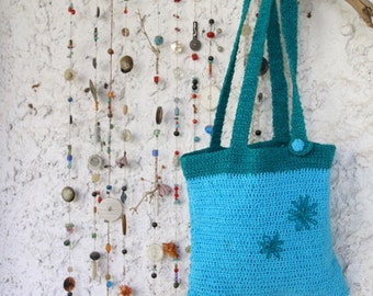 FreshFlowers --- light blue & blue-green. Cotton. Tote-needlework flowers-just the right size-accessories-gift for you-under 40 USD
