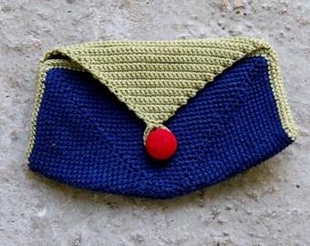 Clutch.-  Blue & light Green, ---RedButton -------- 100percentCotton.