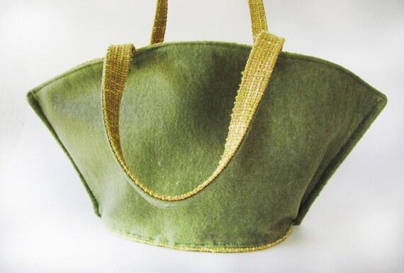 SALE................Kimono Bag C -------- Felt and Canvas. Green  Forest  Hand Bag.