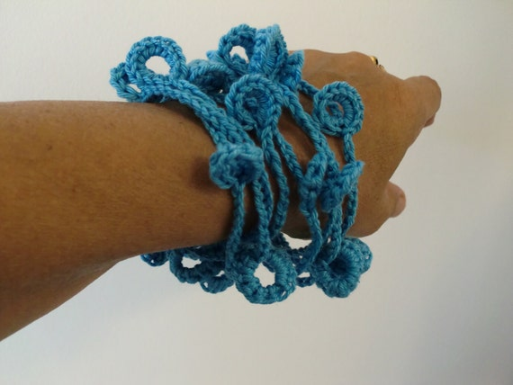 Textile jewelry--Blue  Sea-Cotton--Fiber jewelry--.-.Necklace /  Bracelet--jewelry-unisex Adults.gift