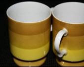 1966 Holt Howard Footed Green Yellow Striped Mugs Set of 2