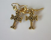 Celtic Cross Earrings, 3D Antiqued Gold, Gold Charm Earrings, Small Dangle Earring, Celtic Jewelry