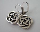 Silver Celtic Earrings,  Open,  Celtic Knot Earrings, Silver Drop Dangle Earrings,  Antiqued Fine Silver Pewter,  Celtic Knot  Dangle
