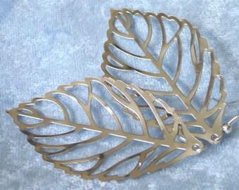 Filigree Leaf Earrings,Large Silver Open