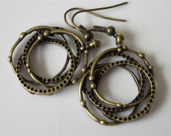 Modern Metal Dangle Earrings, Abstract Bronze Earrings, Modern Jewelry, Circle Earrings,