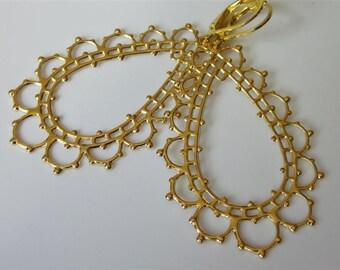 Lacy Filigree Earrings, Hoop Drop, Gold Filigree Dangle, Open Teardrop, Leverback,