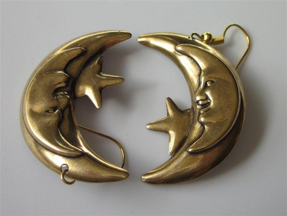 Crescent Moon Earrings-Antiqued Brass