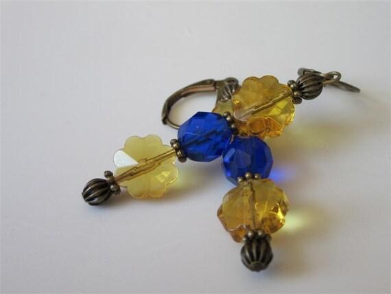 Glass Flower Earrings, Honey Amber Crystal Flowers, Cobalt Blue Czech Glass Victorian Spring Dangle Antiqued Brass  Leverback  Earrings