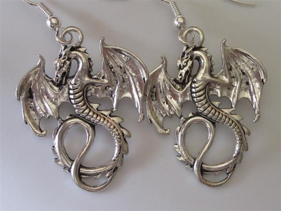Antiqued Silver Dragon Earrings Gothic Winged Dragons ...