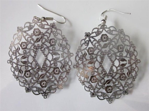 Floral Filigree Earrings Silver Rhodium