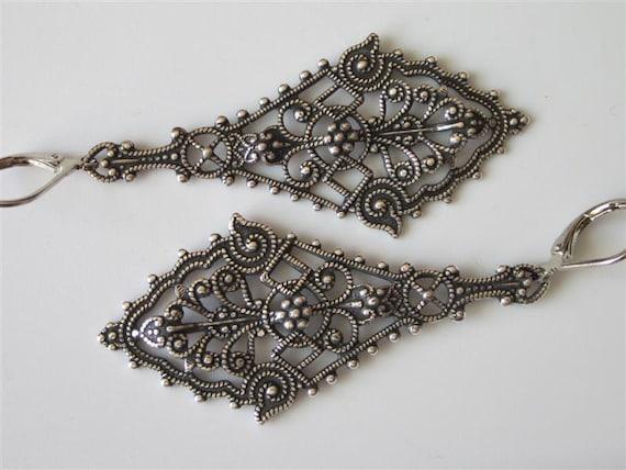 Victorian Filigree Earrings Antiqued Silver Lacy Diamond Shaped Elegant Earrings Medieval Trinity Brass