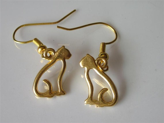 gold cat earrings dangle earrings pewter cat by