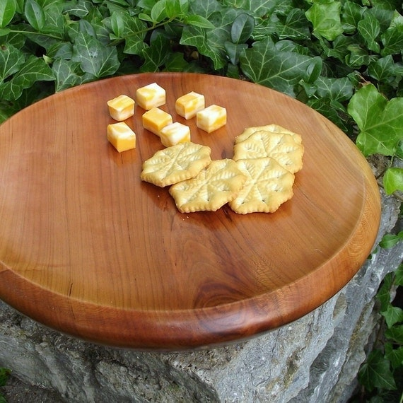 RESERVED - Wood Serving Tray, Cutting Board, Cake Platter - Eco-Friendly Solid Cherry Wood Wooden Cheese Tray - Rustic Home Decor