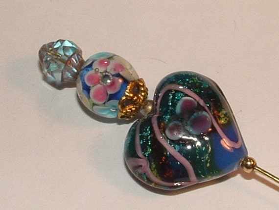 HATPIN-dreamy blue heart and ribbons -pink flowered lampwork bead -baby blue crystal top ---2die4