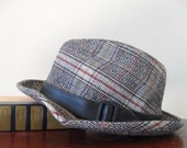 Vintage Plaid Fedora Mens Hat