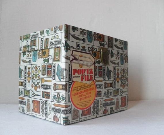 Reserved Vintage Large Metal Porta File with Retro Design