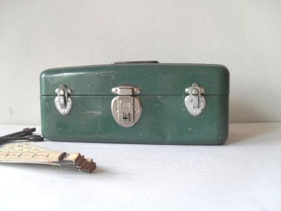 Vintage Metal Toolbox in Green