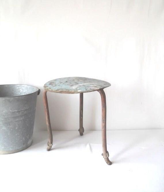 Primitive Metal Milking Stool Blue Seat
