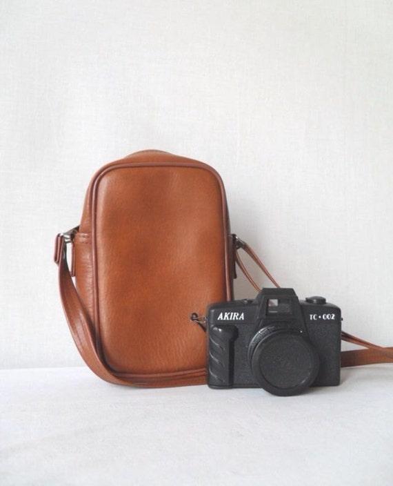 Faux Leather Camera Bag Saddle Brown