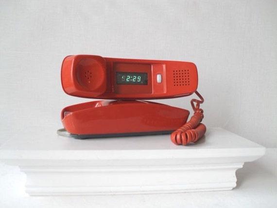 Vintage Orange Trimline Telephone Upcycled into Digital Clock