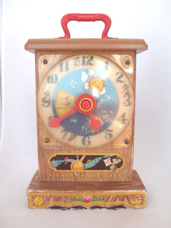 Vintage Fisher Price Toy Teaching Clock 1960s Working