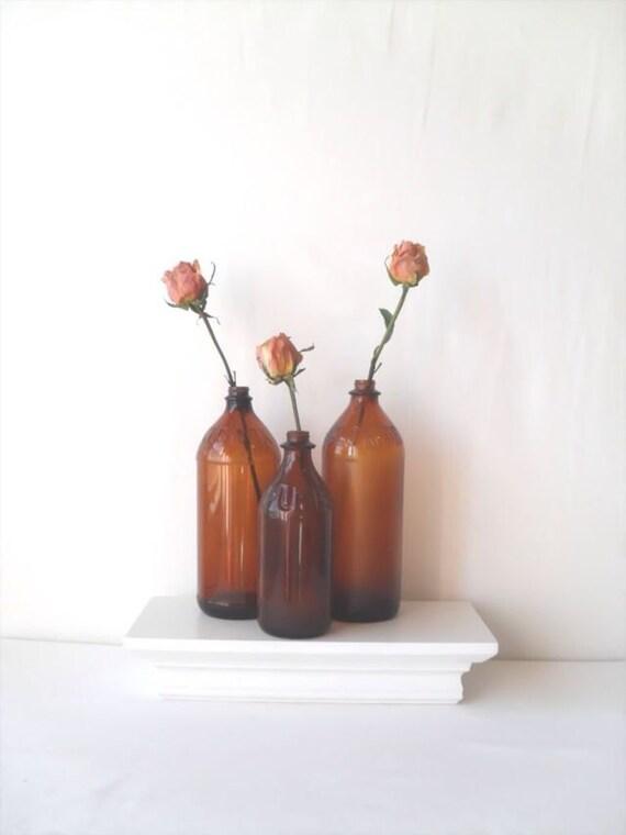 Vintage Amber Bottles Trio for Home Decor